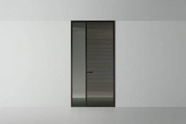italiaanse design binnendeur rimadesio even met horizontale aluminium profielen