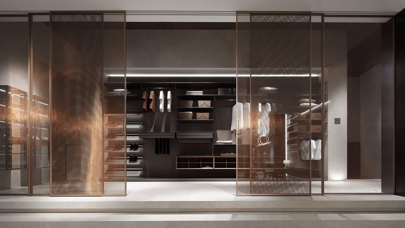 design grote glazen schuifdeuren in koper glas rimadesio velaria