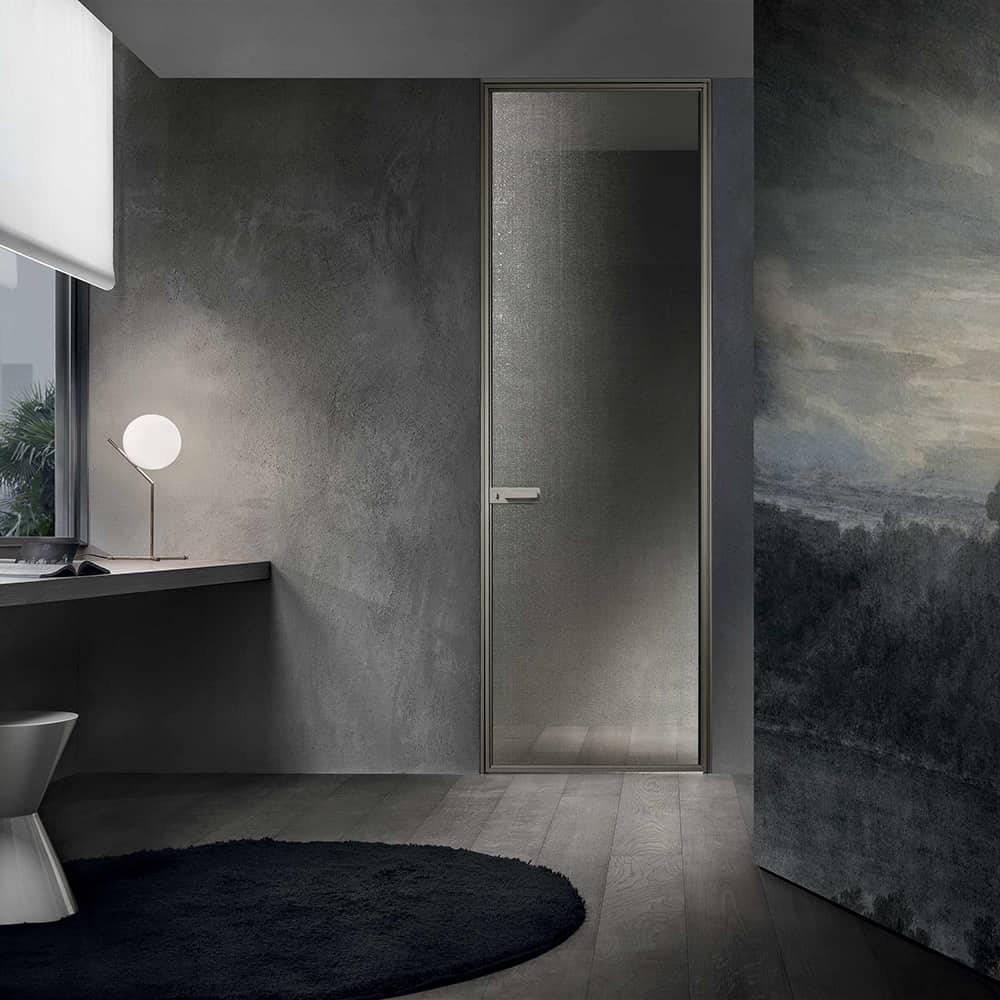 design italiaanse binnendeur voor slaapkamer met goudkleurig glas op maat gemaakt