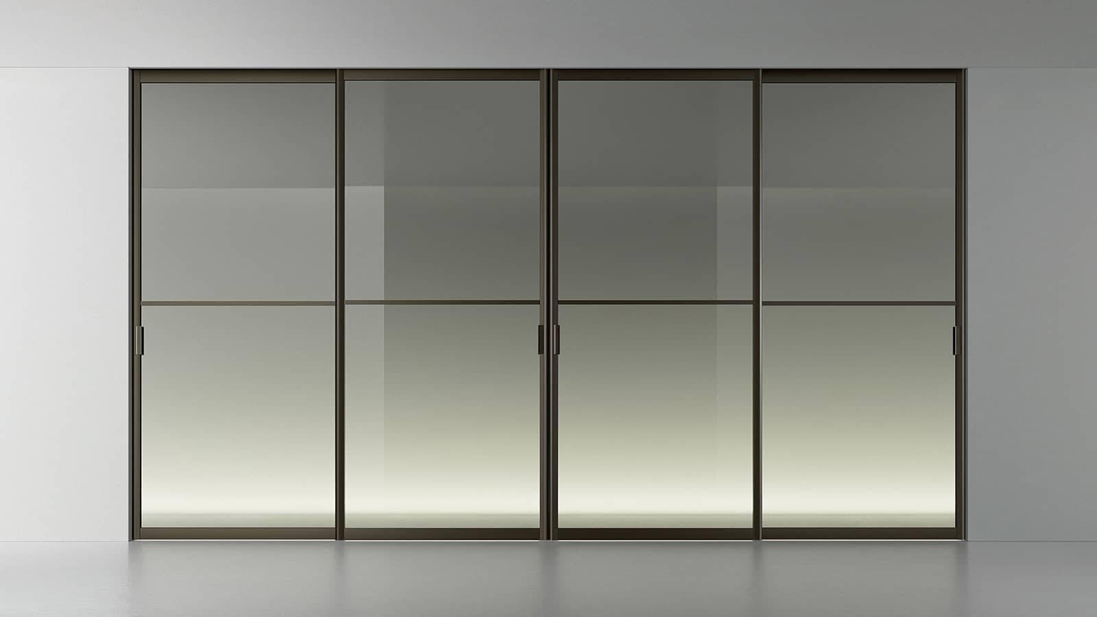 glazen schuifdeuren met grijs transparant glas en vlakken