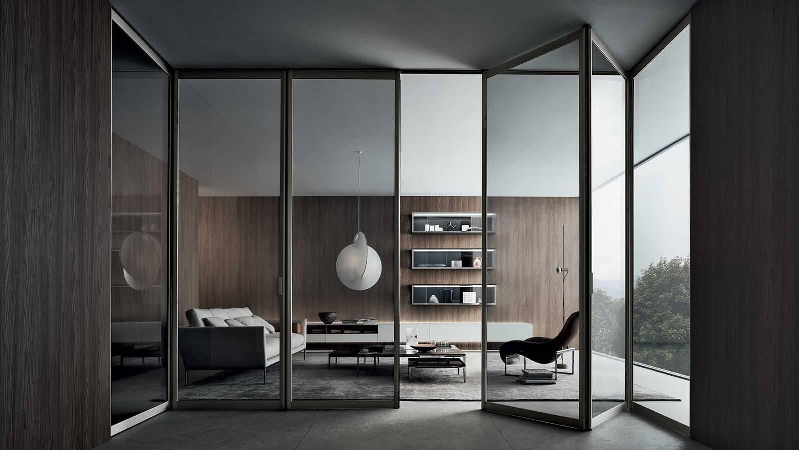 design vouwdeur met grijs transparant glas en bruin zwart aluminium kader