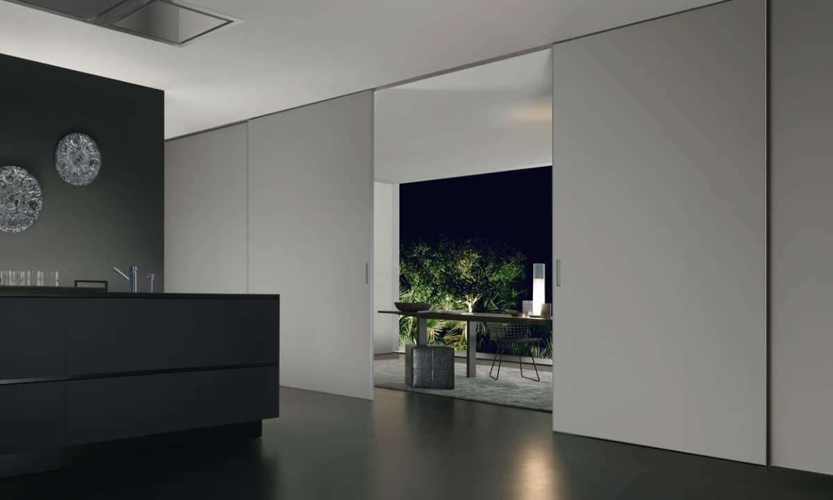 luxe glazen schuifdeuren tussen woonkamer en keuken rimadesio graphis plus