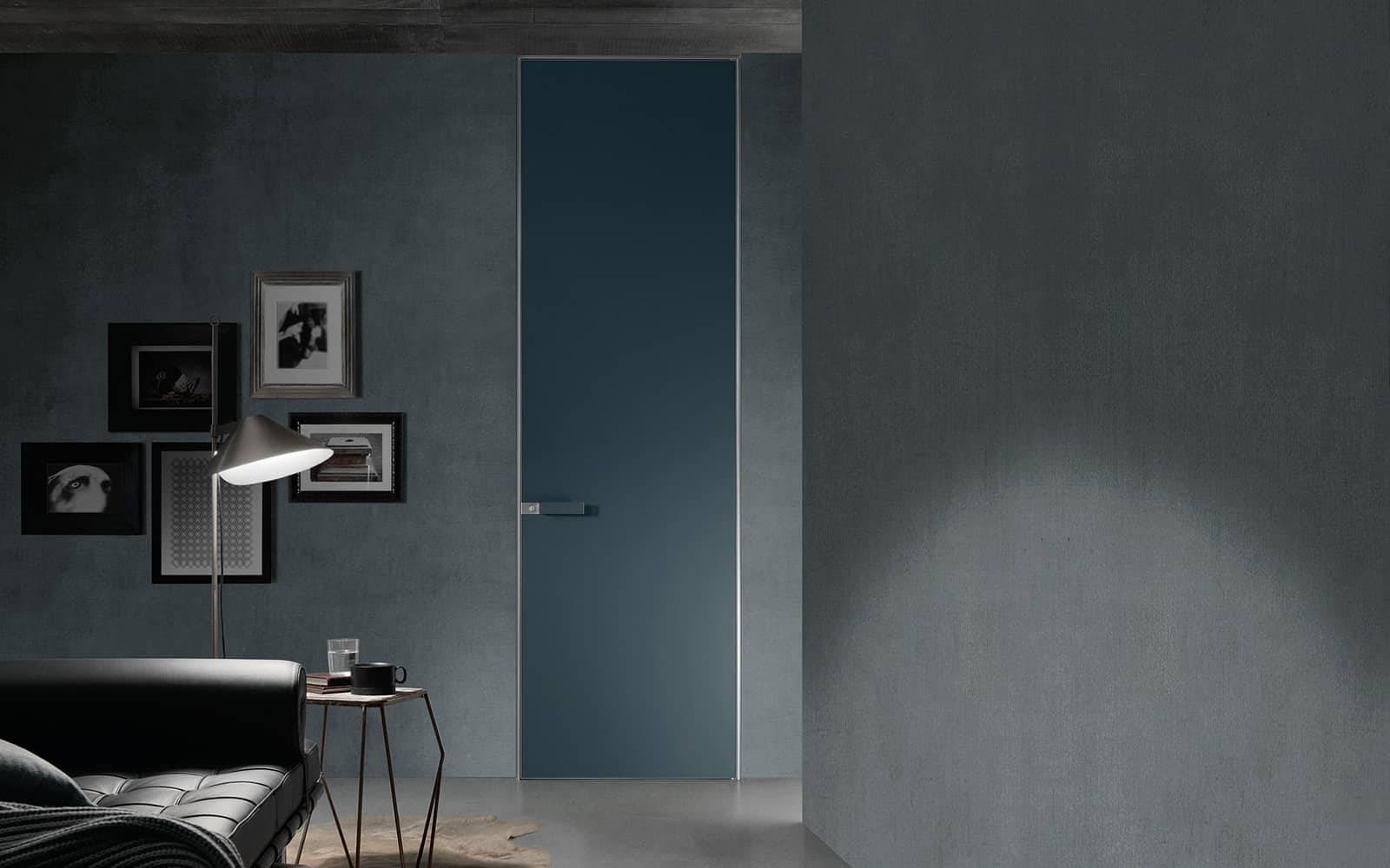 moderne kamerhoge kozijnloze binnendeur in glas met minimaal aluminium kader