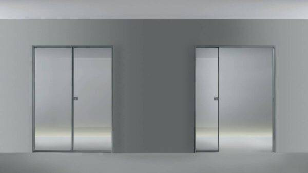 moderne glazen dubbele schuifdeur in de wand met aluminium kozijn Rimadesio