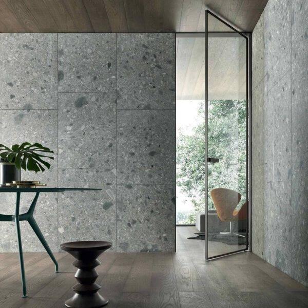 moderne glazen taatsdeur zonder vloerpot