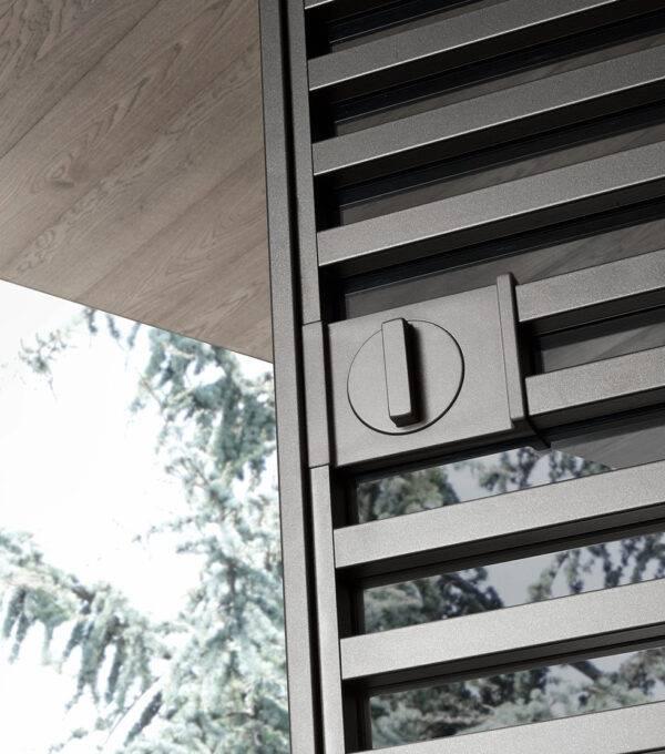 design aluminium greep met omstelknop voor schuifdeur