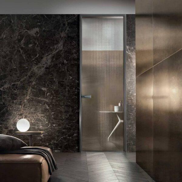 design glazen binnendeur steellook met rete bronzo glas
