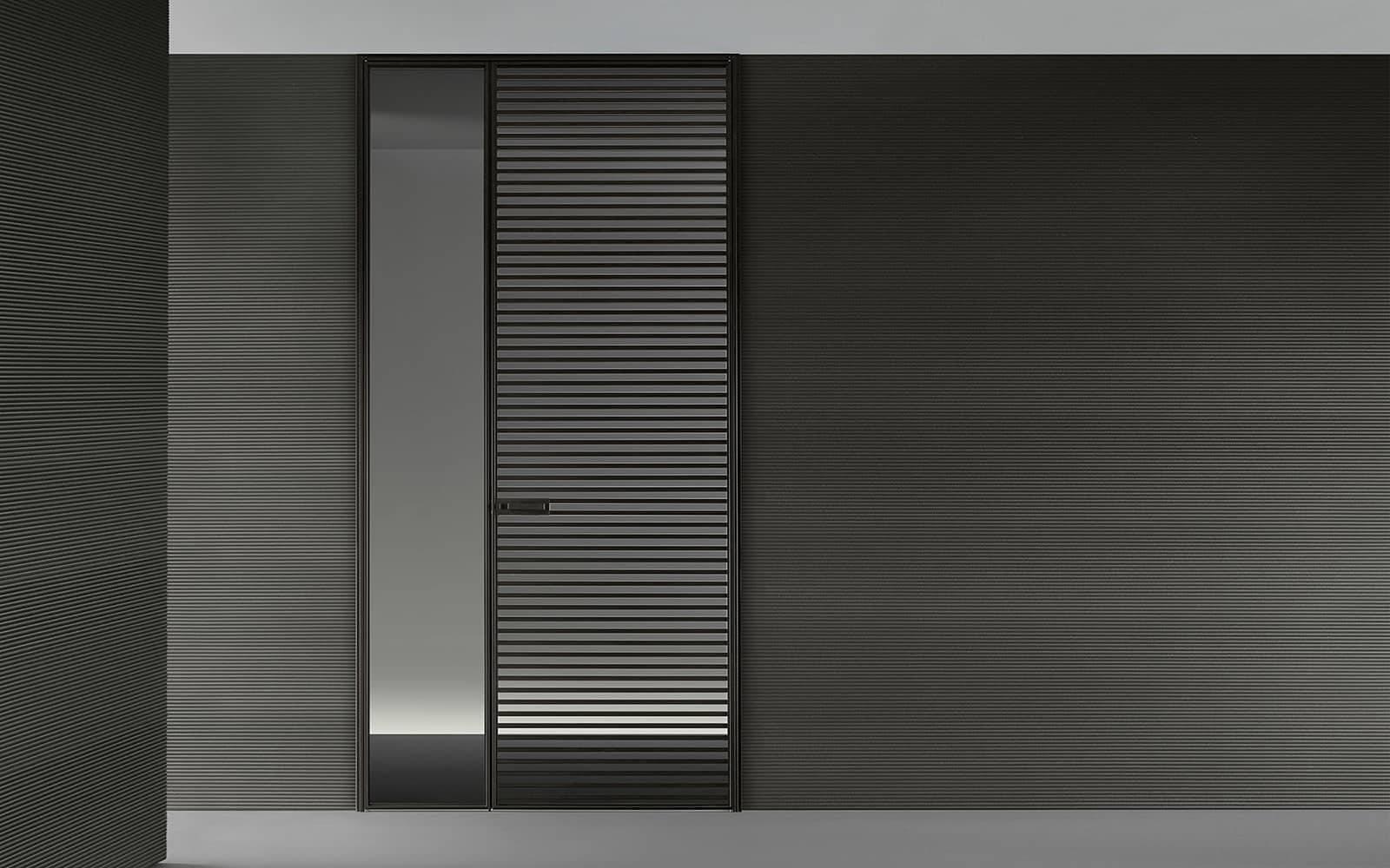 rimadesio deur met horizontale latten in aluminium en glas