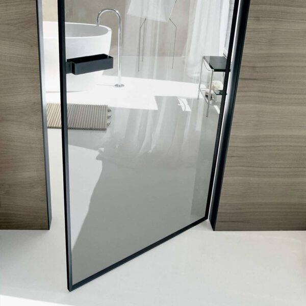 design zwart aluminium taaldeur met transparant glas rimadesio vela
