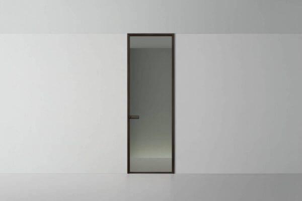 rimadesio spin deur luxe glazen paneel met aluminium kader