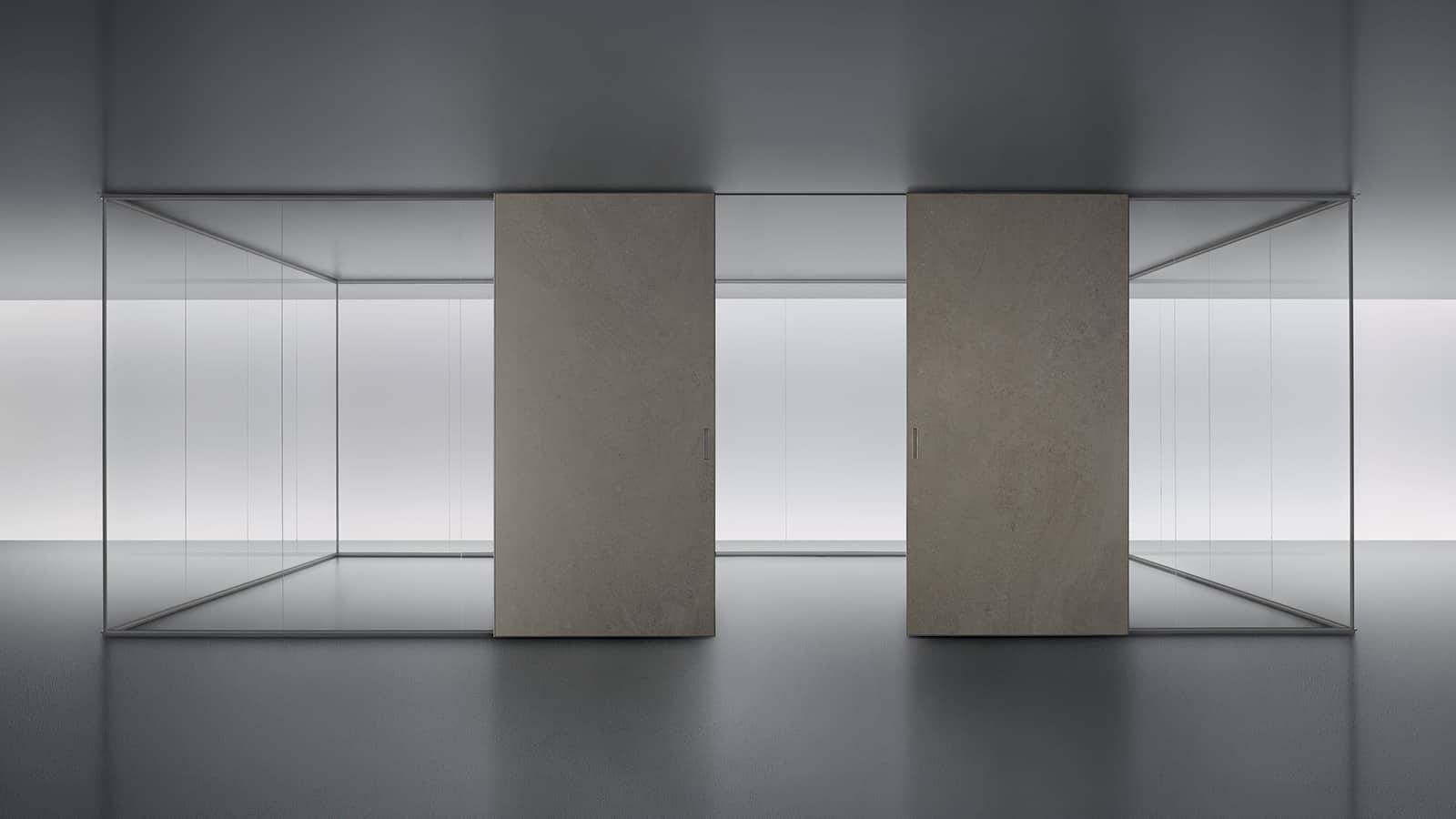 design glazen scheidingswand met keramiek schuifdeur rimadesio