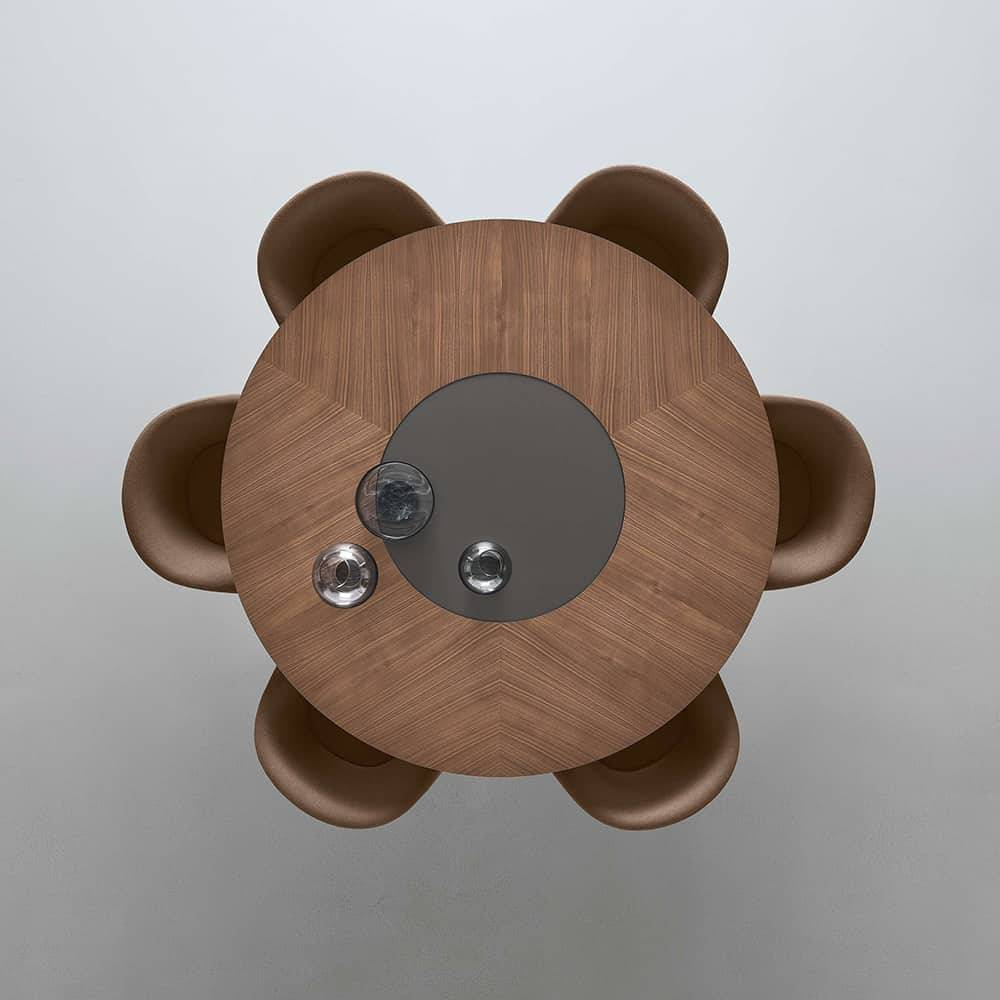 ronde houten tafel met glazen draaiend middenstuk