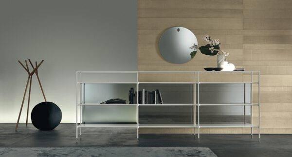 lage wit aluminium boekenkast minimalistisch en industrieel rimadesio wind