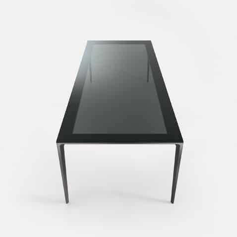 italiaanse rechthoekige glazen tafel met rookglas rimadesio long island