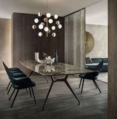 luxe ovale tafel rimadesio manta in emperador marmer