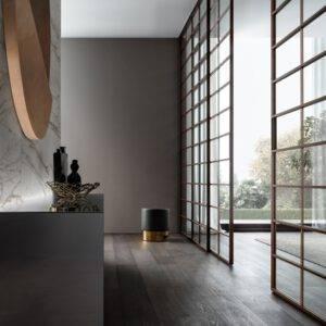 design japanse schuifdeuren met vlakken in hout en glas rimadesio soho