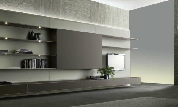 luxe tv-meubel op maat met legplanken en ladeblokken. Wandmeubel in glas en aluminium. Rimadesio Abacus Italiaans design