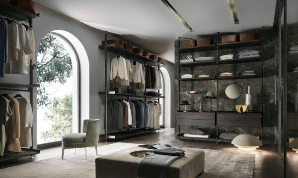 luxe italiaanse inloopkasten op maat in aluminium, glas en hout Rimadesio Zenit via Noctum