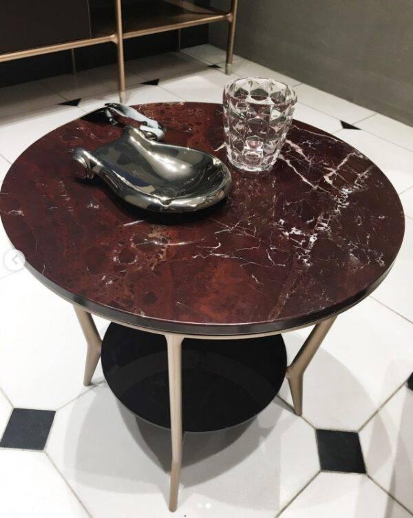 luxe ronde marmer salontafel met aluminium poten italiaans design rimadesio planet
