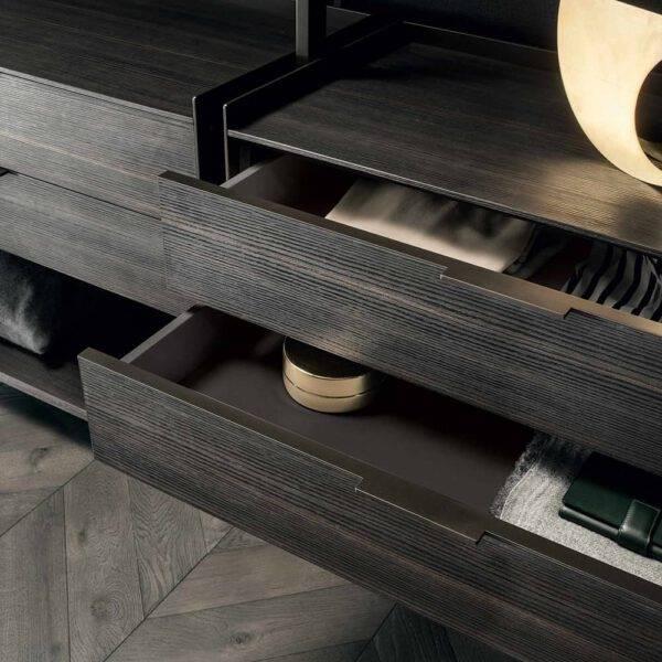 houten zwevende ladenblok voor inloopkast met lederen inrichting rimadesio zenit