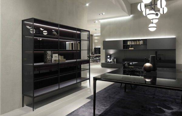 luxe italiaanse boekenkast in aluminium en glas wandmeubel