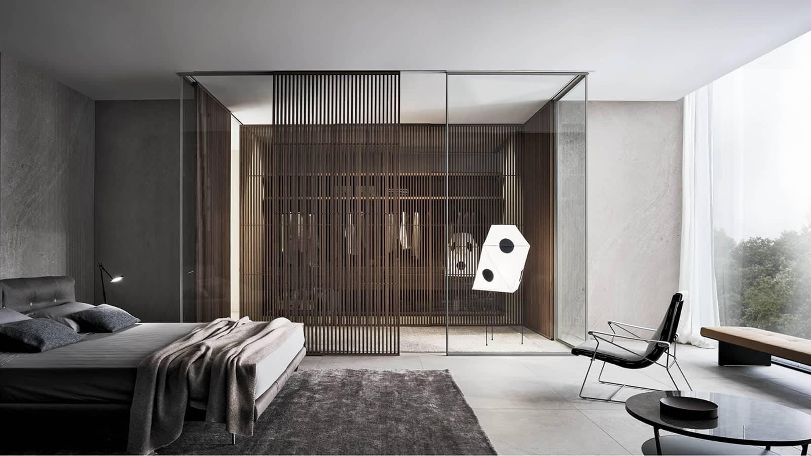 design glazen akoestische wanden met schuifdeur met verticale houten profielen rimadesio spazio