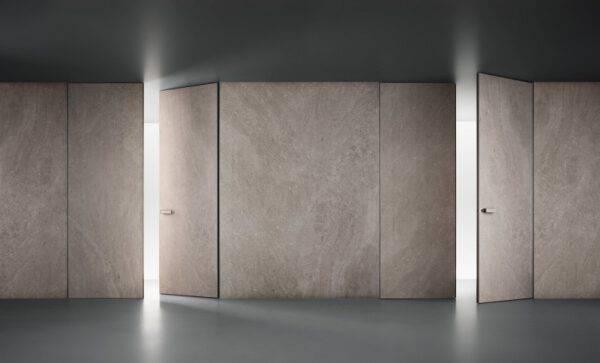 luxe dubbele binnendeuren in keramiek met onzichtbaar kozijn