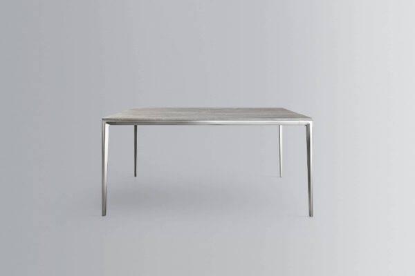 design vierkante tafel met marmer blad en aluminium poten rimadesio long island