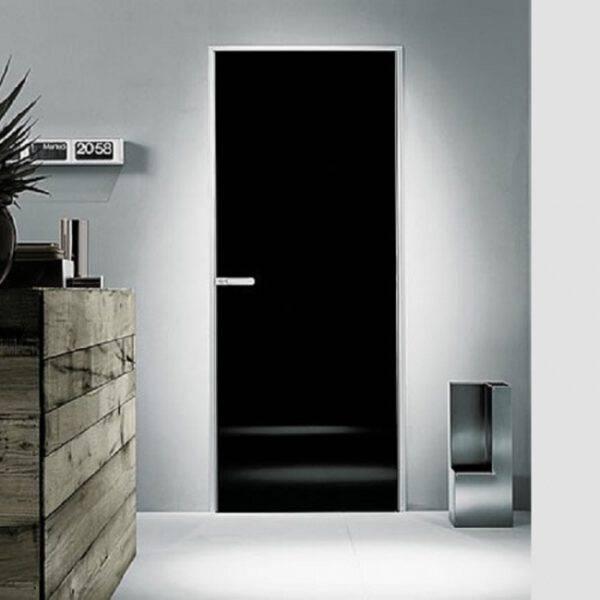 luxe zwart glazen binnendeur op maat met aluminium kader rimadesio link plus italiaans design