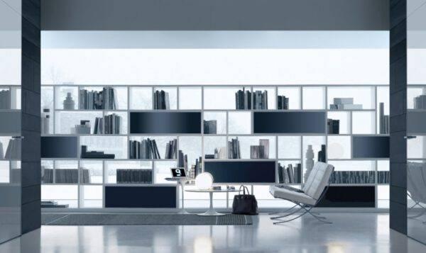 luxe vrijstaande boekenkast op maat in glas en aluminium italiaanse design meubelen rimadesio opus