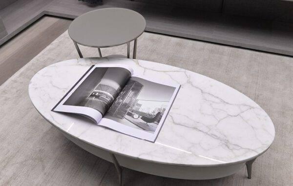luxe ovale tafel met wit marmer blad calacatta rimadesio planet
