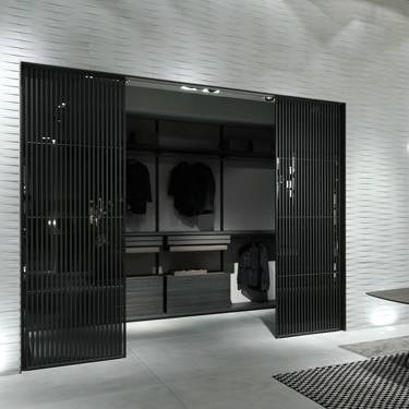 luxe schuifdeur voor inloopkast met verticale profielen