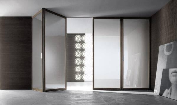 luxe vouwdeuren met aluminium kader en glas op maat gemaakt Rimadesio Siparium