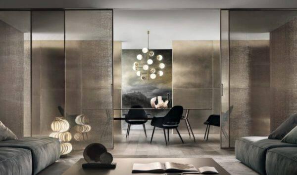 rimadesio_velaria_design_schuifdeuren met rete bronzo glas