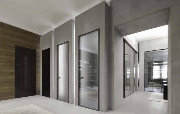 rimadesio italiaanse design binnendeur in glas met aluminum kader noctum
