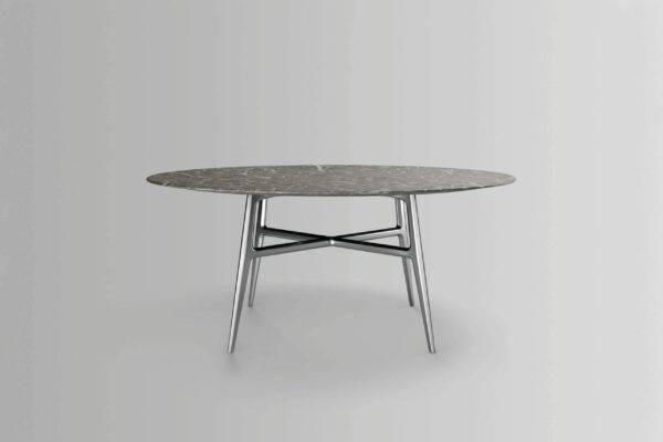 luxe ronde eettafel met grijsachtige marmer blad rimadesio francis italiaans design