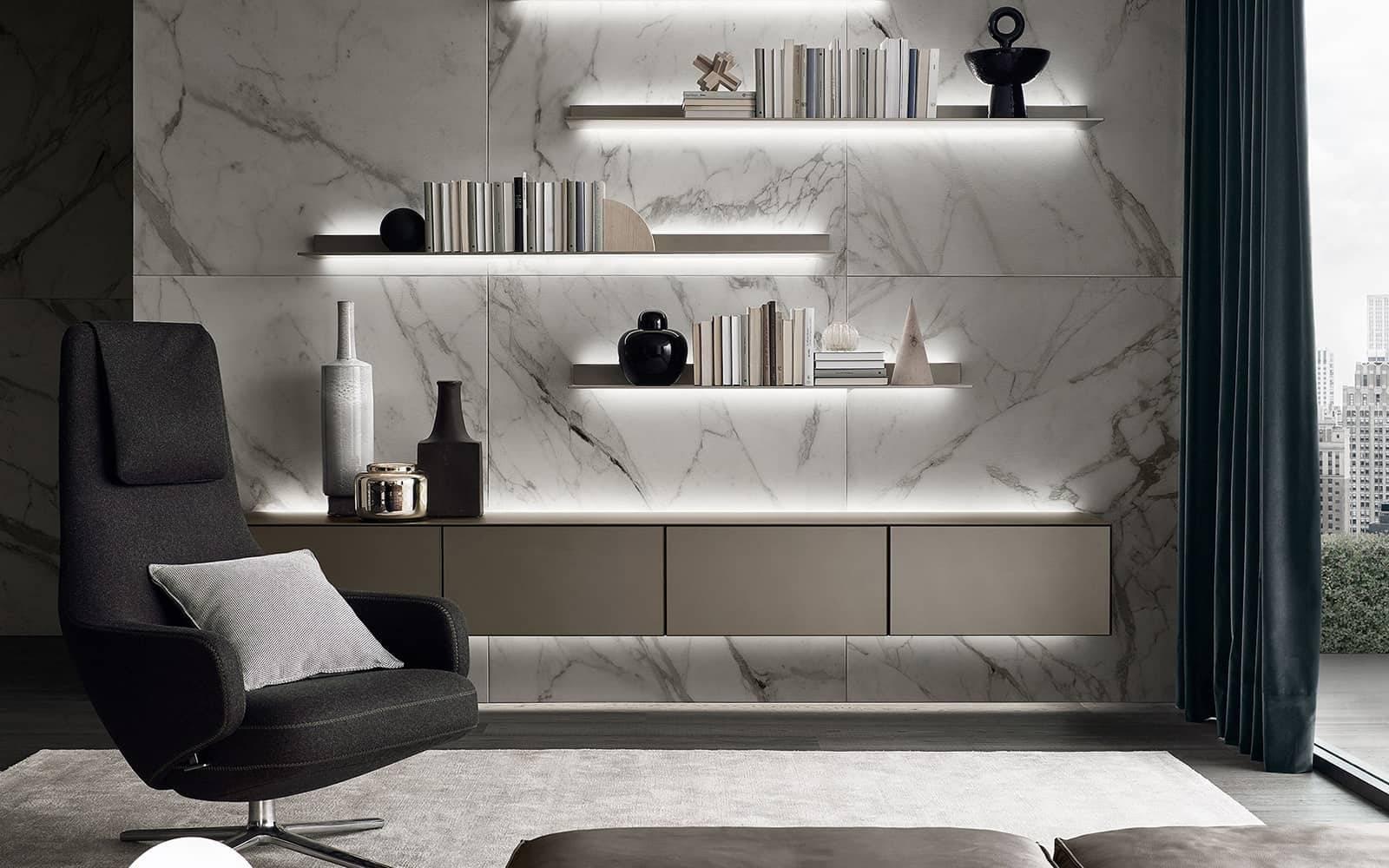 italiaanse zwevend dressoir met glazen ladeblokken rimadesio self