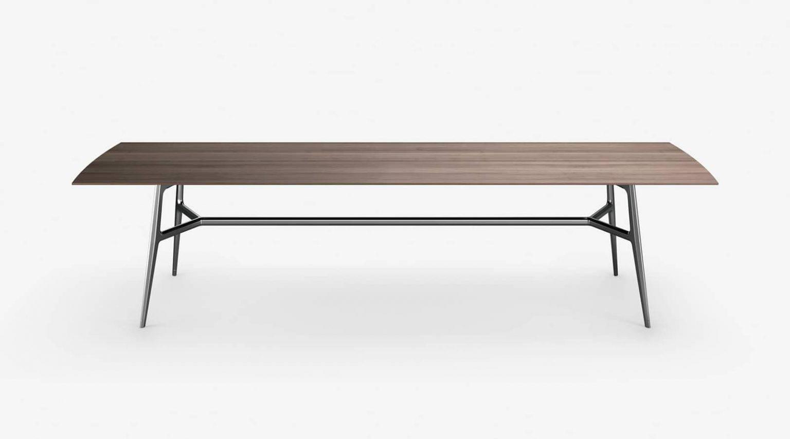 luxe italiaanse design tafel met notenhout blad en glanzend aluminium poten rimadesio francis