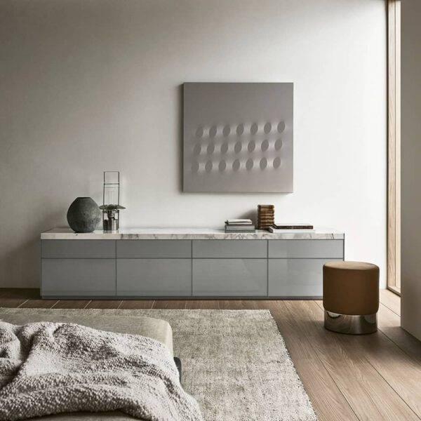 luxe glazen dressoir met marmer blad rimadesio self bold