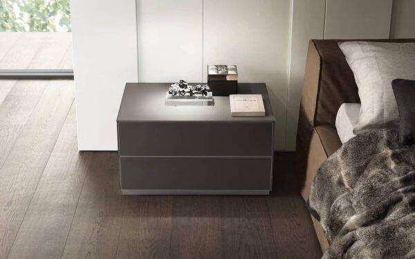luxe nachtkast glas en aluminium bed italiaans design rimadesio self