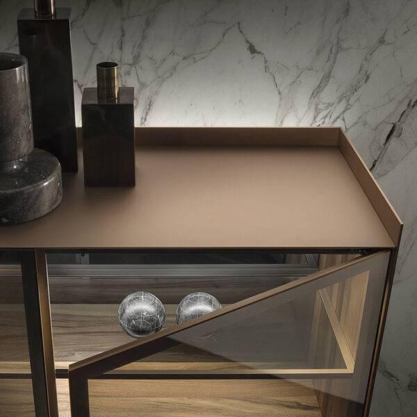 luxe zwevend dressoir in glas en aluminium rimadesio
