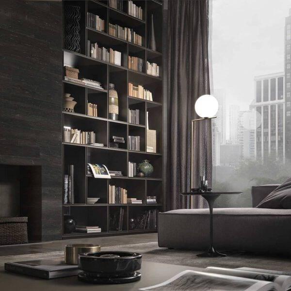 modulaire design boekenkast met glazen vierkante en rechthoekige indeling rimadesio opus