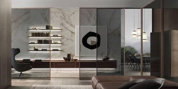 moderne glazen schuifdeur grijs rookglas rimadesio velaria