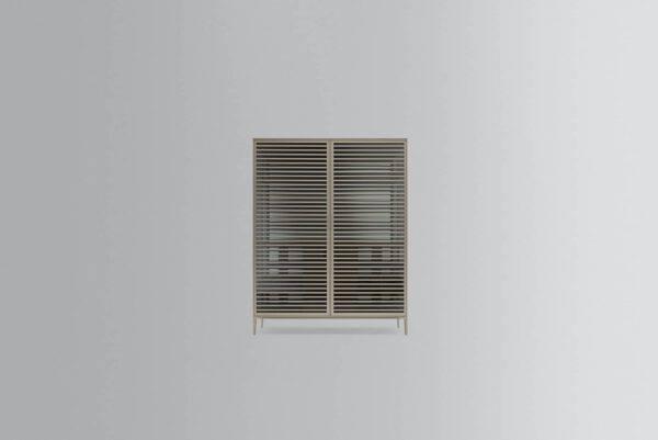 rimadesio alambra kast met deurtjes met horizontale profielen, glazen panelen en aluminium afwerking