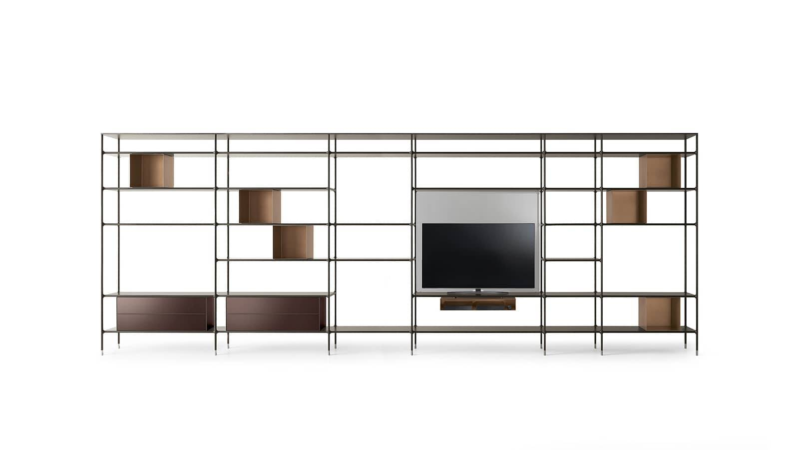 design wandkast in aluminium met tv unit rimadesio wind