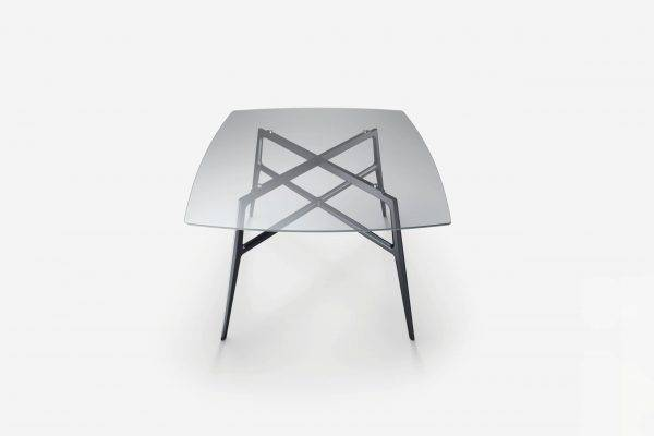 italiaanse design glazen tafel met transparant glas en aluminium poten rimadesio francis