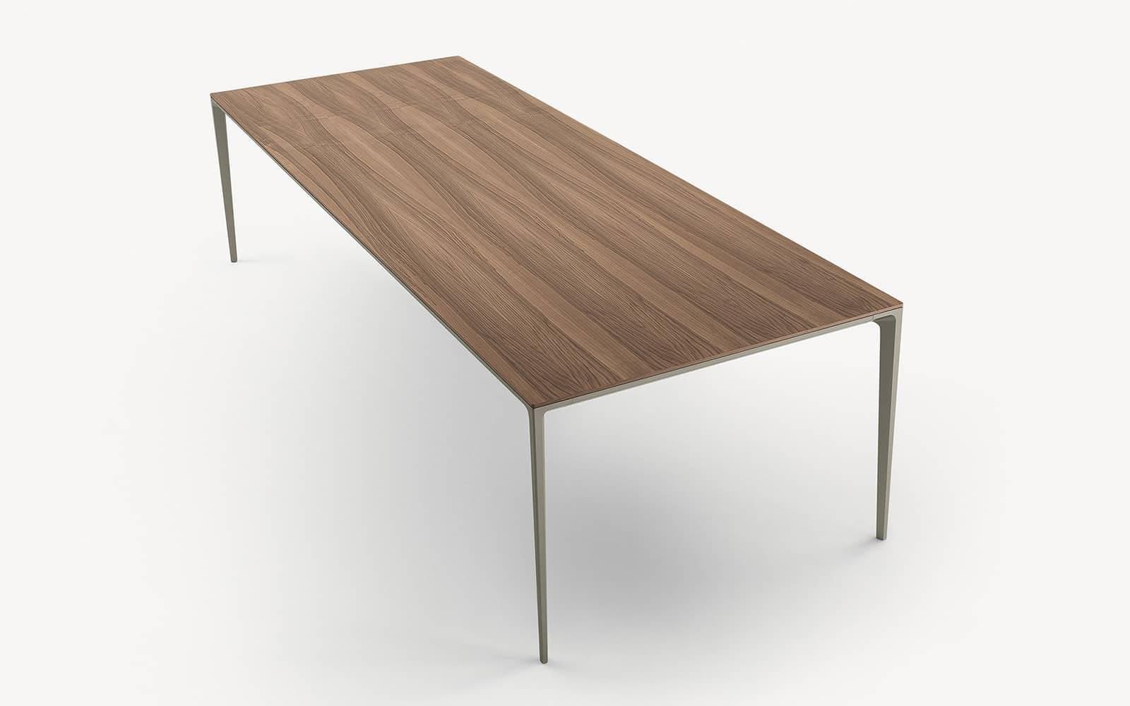 rechthoekige tafel in houtfineer met aluminium poten rimadesio long island italiaans design