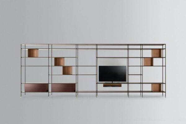 italiaanse design wandkast in aluminium met tv rimadesio wind kast
