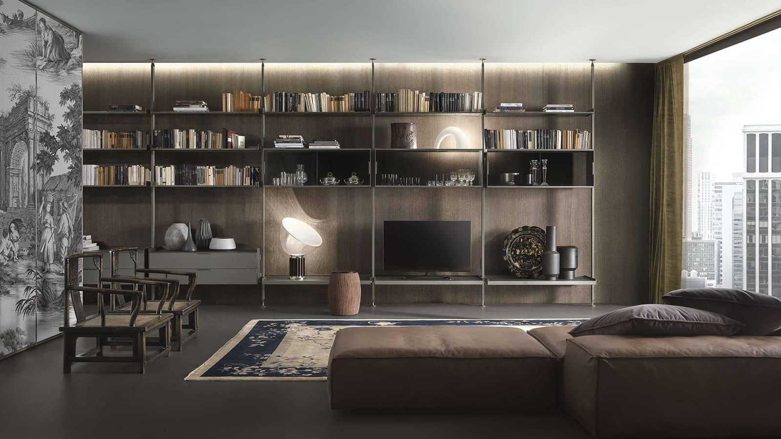 rimadesio zenit design boekenkast modulair in glas en aluminium