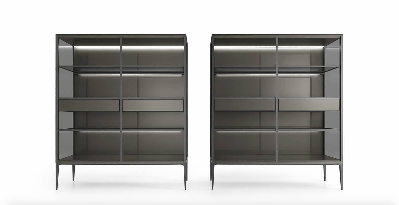 design boekenkast met glazen legplanken led verlichting en lades rimadesio alambra italiaans design